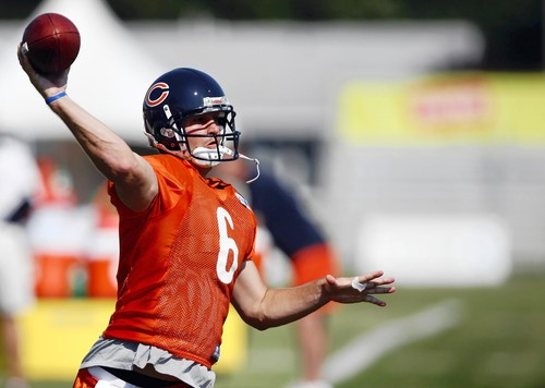 Jay Cutler shown here with a Golden Arm - Not sure if this spiral was thrown in whisper or whoosh mode.   (A Tribune Photo)
