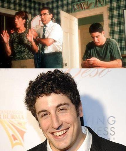 Jason Biggs above in 1999's American Pie gave the green light for young males to stop parting their hair.    Below a recent photo of Biggs with curls trying to distance himself from an insane look-a-like Clemson fan.