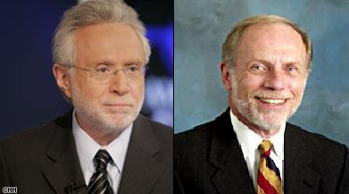 Wolf Blitzer (left) looking way to brilliant and charming to stink so putridly at Jeopardy.   Bierbauer (right) still miffed for not getting the Situation Room gig is being questioned in the Jeopardy debacle.